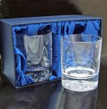 Crystal Whisky Glasses PAIR Personalised Engraved, ref CWP02